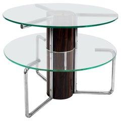 1930s Large Center Table, Macassar Ebony, Chromed Plated Tubes, Glasses, Italy