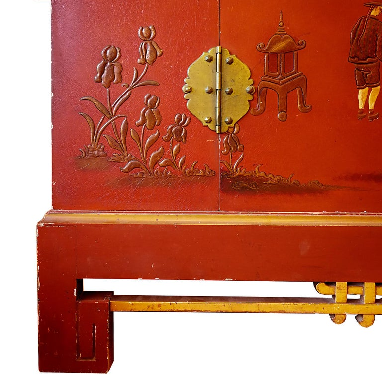 French 1930s Large Wardrobe, Red Lacquered, Chinoiserie Relief Stucco, Maple, France For Sale