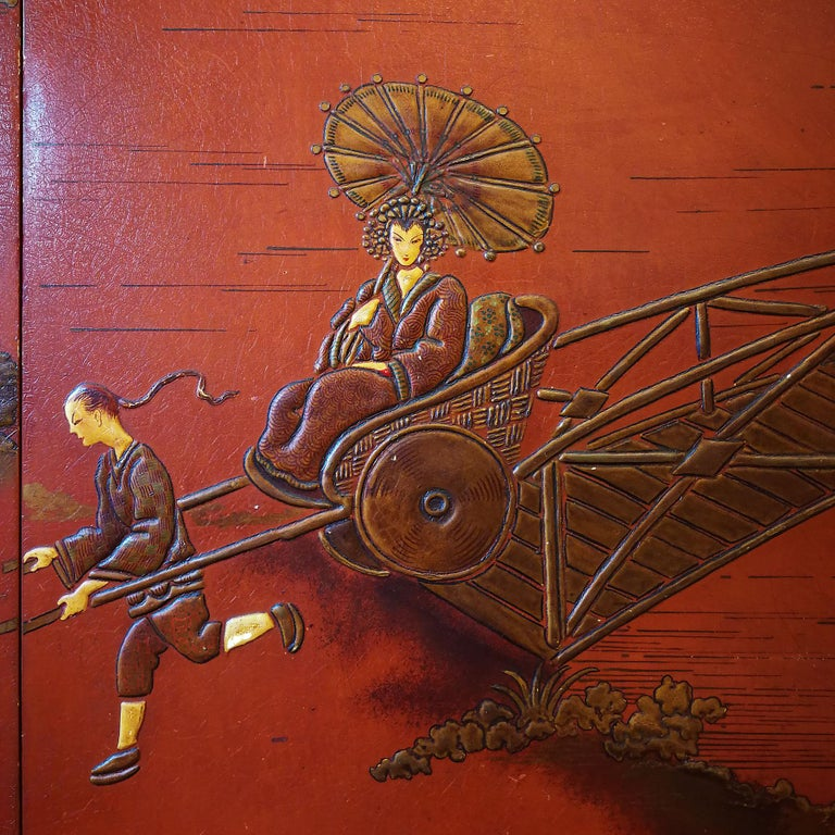 Brass 1930s Large Wardrobe, Red Lacquered, Chinoiserie Relief Stucco, Maple, France For Sale