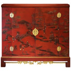 1930s Large Wardrobe, Red Lacquered, Chinoiserie Relief Stucco, Maple, France