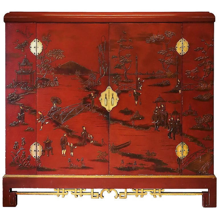 1930s Large Wardrobe, Red Lacquered, Chinoiserie Relief Stucco, Maple, France For Sale