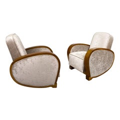 1930s Pair of Art Deco Club Armchairs, Walnut, Velvet, France