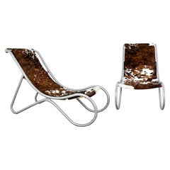 1930´S Pair of Art Deco Deck Chairs, Aluminum, Leather, Italy