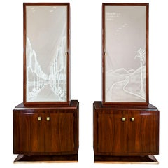 1930s Pair of Art Deco Two Blocks Cabinets, Mahogany, Etched Mirrors, Italy