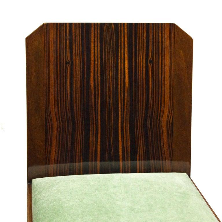 1930s Set of Six Art Deco Chairs, Walnut, Macassar Veneer, Velvet, France For Sale 5