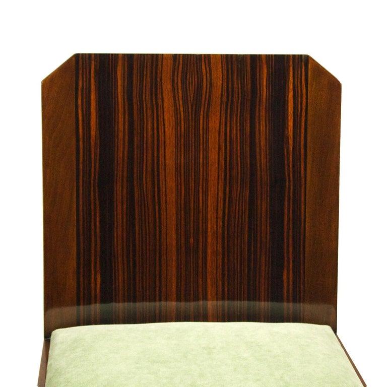 1930s Set of Six Art Deco Chairs, Walnut, Macassar Veneer, Velvet, France For Sale 6