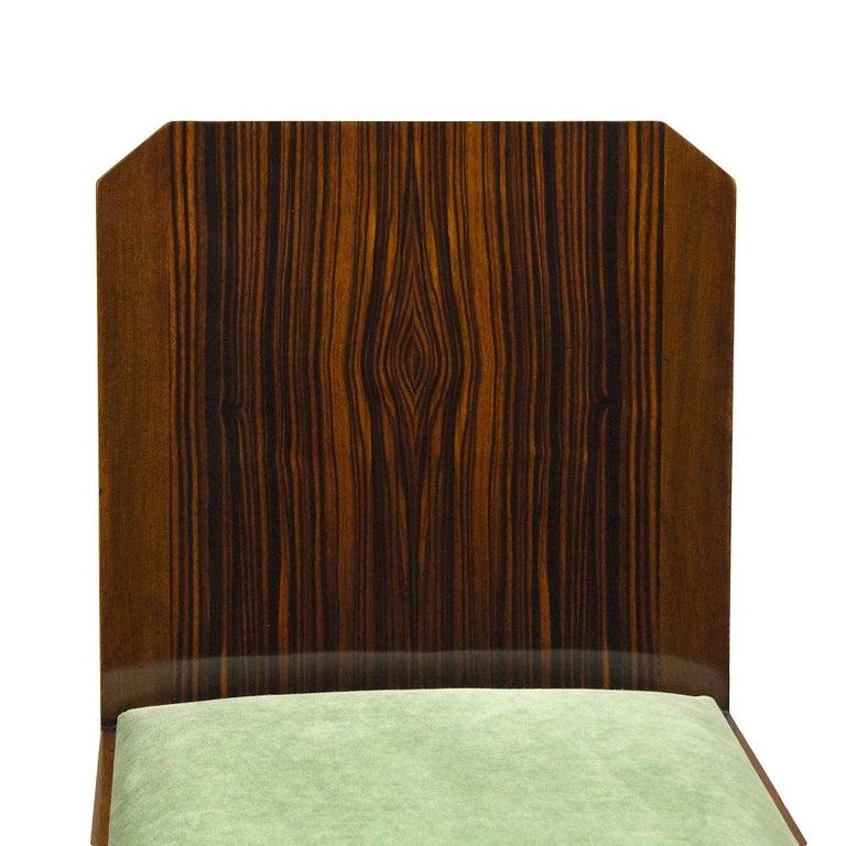 1930s Set of Six Art Deco Chairs, Walnut, Macassar Veneer, Velvet, France For Sale 7