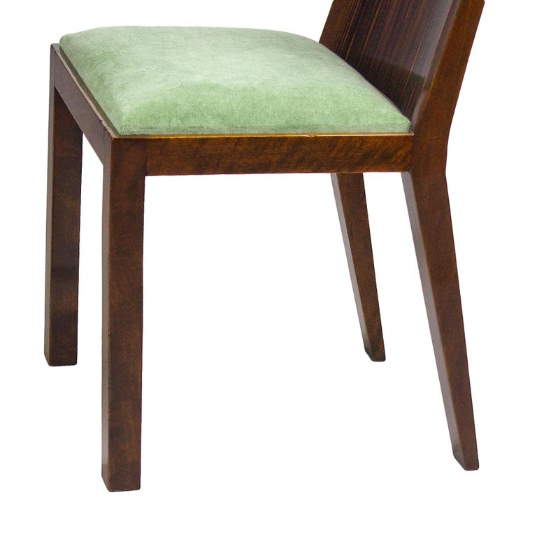 1930s Set of Six Art Deco Chairs, Walnut, Macassar Veneer, Velvet, France For Sale 8