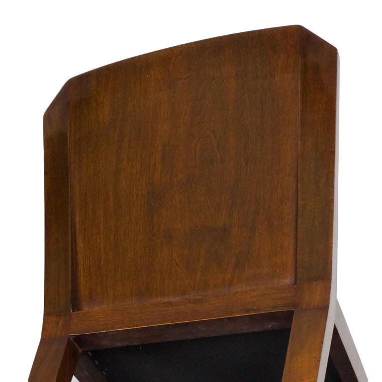 1930s Set of Six Art Deco Chairs, Walnut, Macassar Veneer, Velvet, France For Sale 10