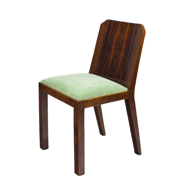 French 1930s Set of Six Art Deco Chairs, Walnut, Macassar Veneer, Velvet, France For Sale