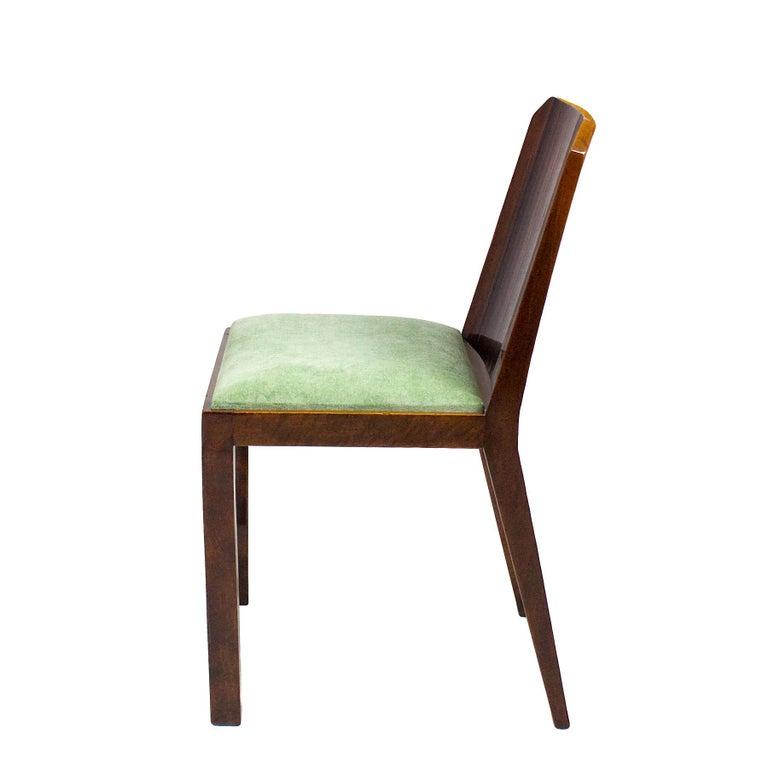 1930s Set of Six Art Deco Chairs, Walnut, Macassar Veneer, Velvet, France In Good Condition For Sale In Barcelona, ES