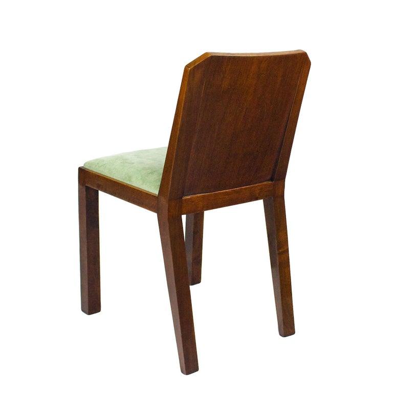 Mid-20th Century 1930s Set of Six Art Deco Chairs, Walnut, Macassar Veneer, Velvet, France For Sale