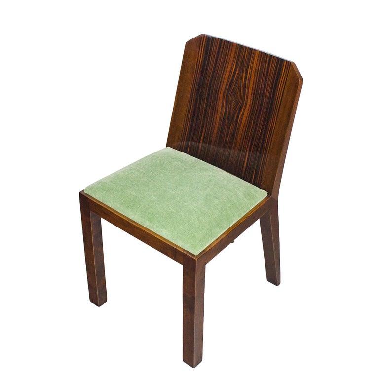 1930s Set of Six Art Deco Chairs, Walnut, Macassar Veneer, Velvet, France For Sale 1