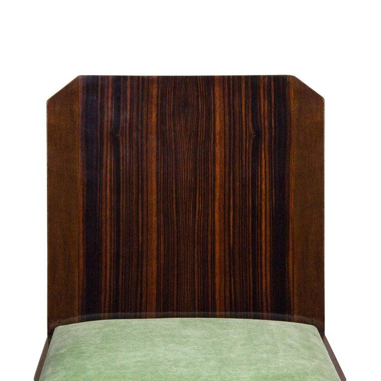 1930s Set of Six Art Deco Chairs, Walnut, Macassar Veneer, Velvet, France For Sale 2