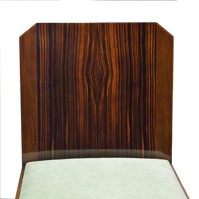 1930s Set of Six Art Deco Chairs, Walnut, Macassar Veneer, Velvet, France For Sale 3