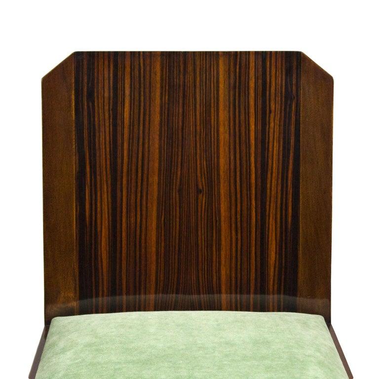 1930s Set of Six Art Deco Chairs, Walnut, Macassar Veneer, Velvet, France For Sale 4
