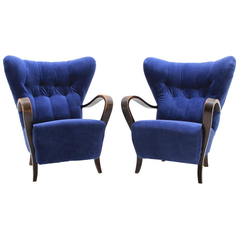 1930 Set Of Two Unique Wing Chairs, Czechoslovakia For