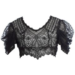 1930 Sheer Black Lace Crop Top