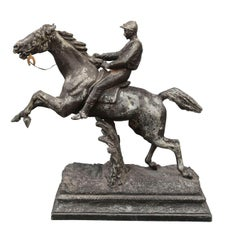 1930 Spelter Sculpture Jockey and His Horse