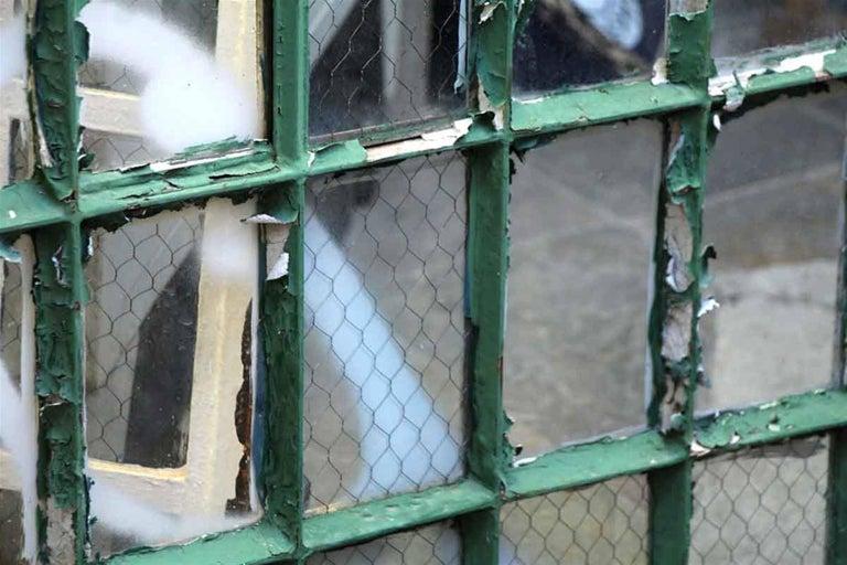 1930 Steel Frame Palladium Arched Chicken Wire Windows For