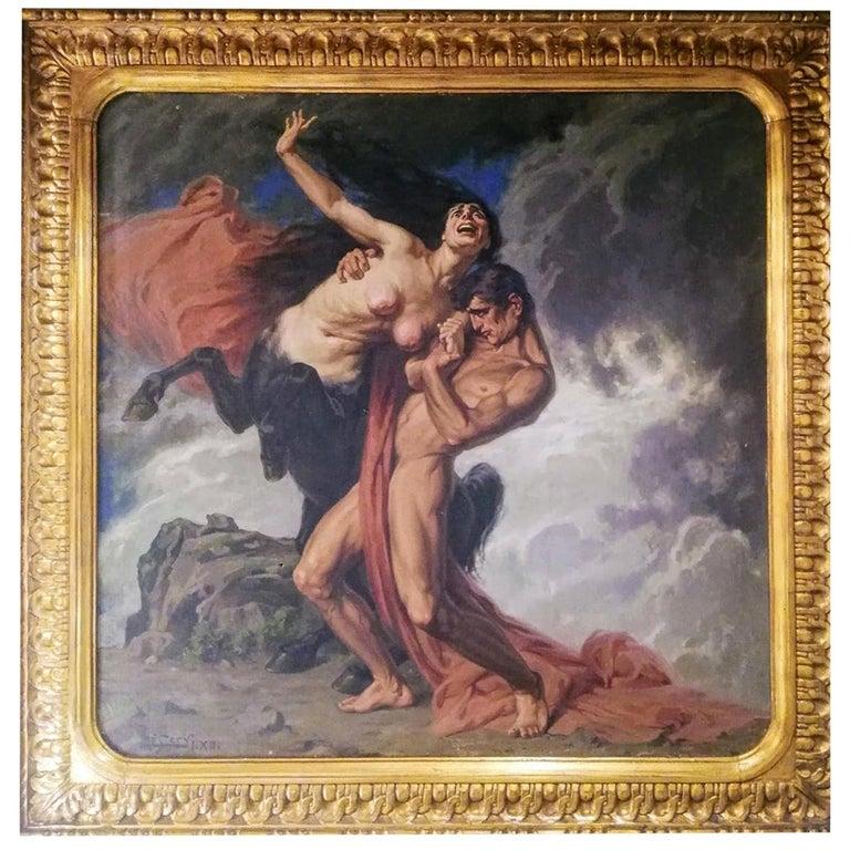 1930 Struggle of the Centaurs by Luigi De Servi Canvas Oil Painting Gold Frame For Sale