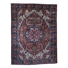 1930 Vintage Hand Knotted Persian Heriz Rug, Denser Weave