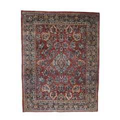 1930 Vintage Persian Sarouk Rug, Full Pile, Pliable and Soft
