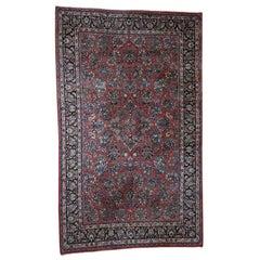 1930 Vintage Persian Sarouk Rug Longer and Narrow Full Pile Soft