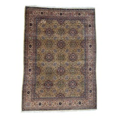1930 Vintage Persian Sherkat Hand Knotted Rug, Yellow Field