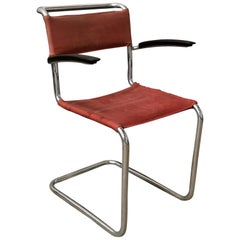 1930, W.H. Gispen, for Gispen Culemborg, Dining Chair No. 204 in Red Canvas