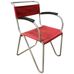 1930, W.H. Gispen for Gispen, Diagonal Chair 1930 in Rope & New Red Canvas Cover