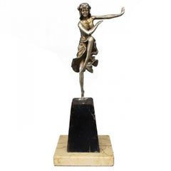 1930 Young Dancer Art Deco in Silvered Bronze