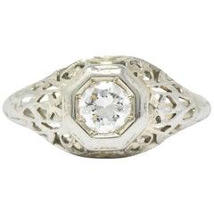 1930s 0.33 Carat Diamond 18 Karat White Gold Art Deco Engagement Ring