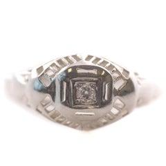 1930s .05 Carat Single Cut Diamond, 14 Karat White Gold Engagement Ring