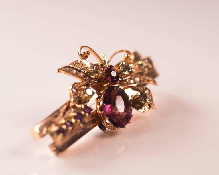 Women's or Men's 1930s 0.55 Carat Diamond, Ruby, Pearl and Amethyst Butterfly Pendant, Rose Gold For Sale