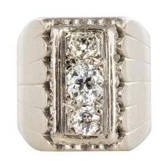 1930s 0.90 Carat Diamonds 18 Karat White Gold Signet Ring