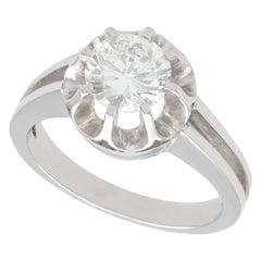 1930s 1.05 Carat Diamond White Gold Solitaire Engagement Ring