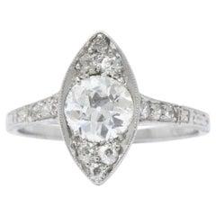 1930's 1.06 CTW  Diamond Platinum Alternative Engagement Ring GIA