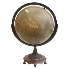 1930s Weber Costello Globe on Ornate Bronze Stand
