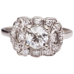 1930s 1.20 Carat Total Diamond Platinum Engagement Ring