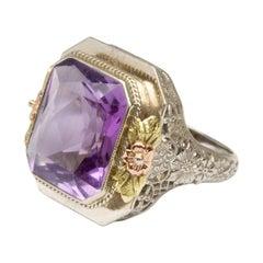 1930s 14 Karat White, Rose, and Yellow Gold Amethyst Ring