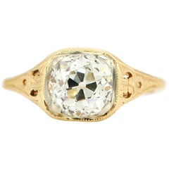 Art Deco 1.56 Carat Old Mine Cushion Diamond Engagement Ring