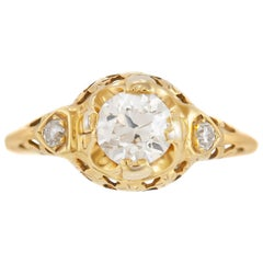 1930s 14 Karat Yellow Gold with 0.80 Carat Diamond Engagement Ring