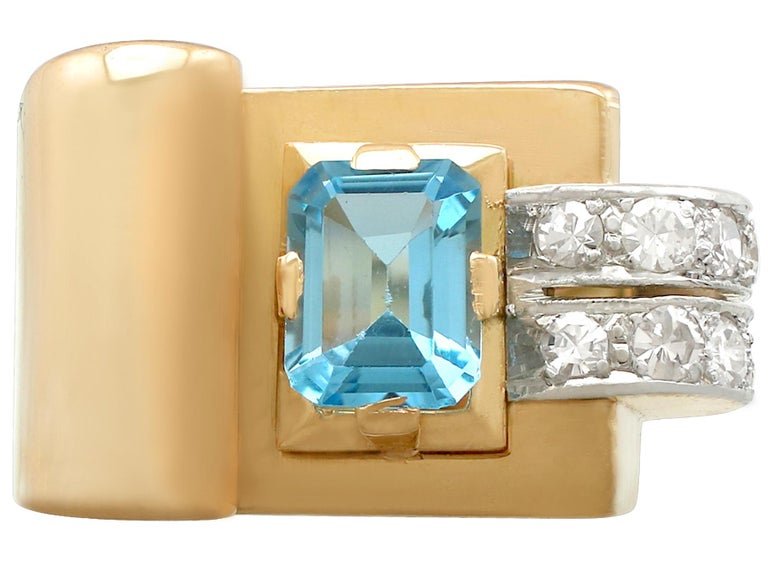 Art Deco 1930s 1.45 Carat Aquamarine Diamond Gold Cocktail Ring For Sale