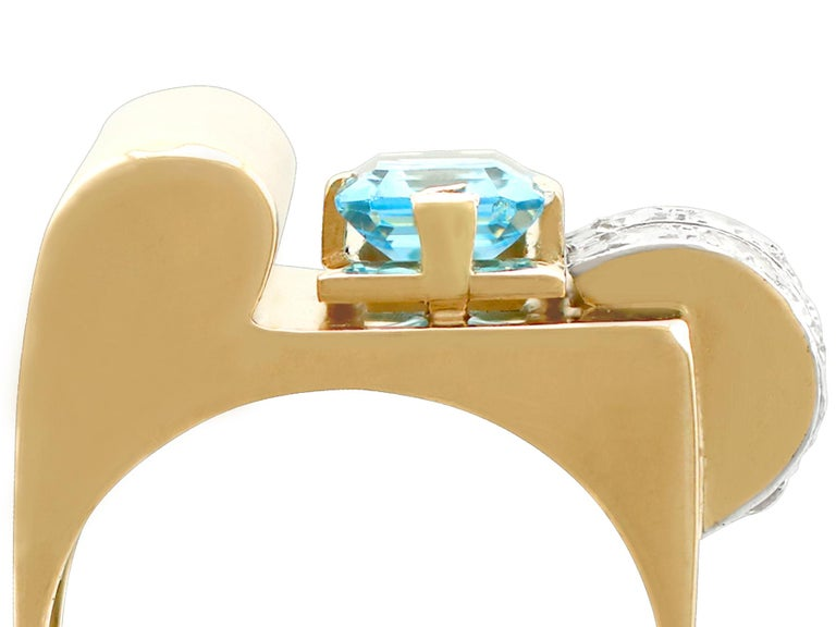 1930s 1.45 Carat Aquamarine Diamond Gold Cocktail Ring In Excellent Condition For Sale In Jesmond, Newcastle Upon Tyne
