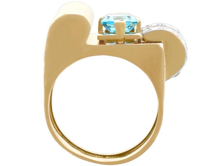 Women's 1930s 1.45 Carat Aquamarine Diamond Gold Cocktail Ring For Sale