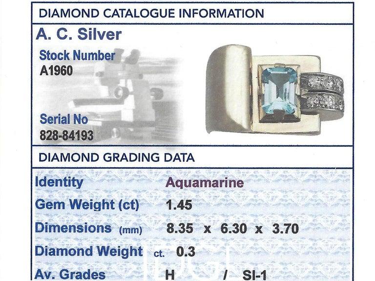 1930s 1.45 Carat Aquamarine Diamond Gold Cocktail Ring For Sale 1