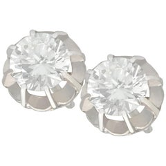 1930s 1.52 Carat Diamond and White Gold Stud Earrings