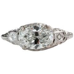 1930s 1.6 Carat Oval Diamond Engagement Ring, 18 Karat Gold