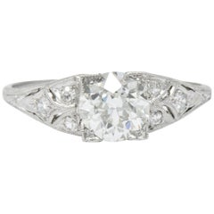 1930s 1.60 Carat Diamond Platinum Engagement Alternative Ring, GIA